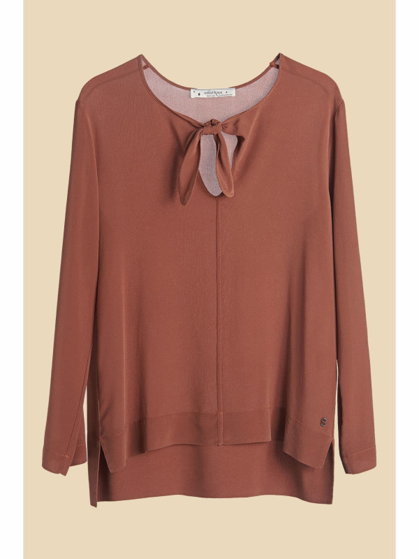 Crepe de Chine Blouse with Bow
