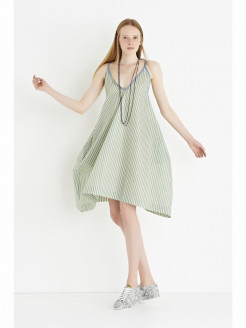 Cotton Trapeze Dress with Stripes
