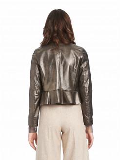 Kurze Jacke aus Lamè-Leder