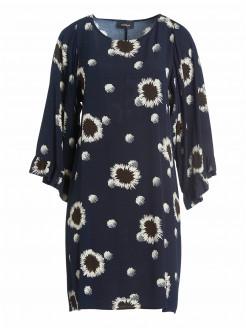 Kleid aus Viskose-Crêpe mit Blumen und Rüschen