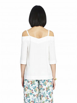 Jersey de algodón que descubre los hombros con tirantes