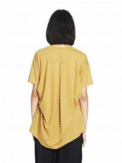 Camiseta de rayas de algodón con final redondeado