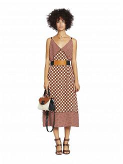Vestido midi de viscosa con efecto patchwork