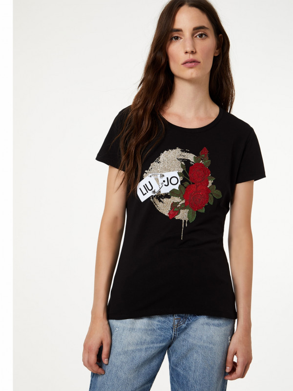 T-shirt with print and appliqués