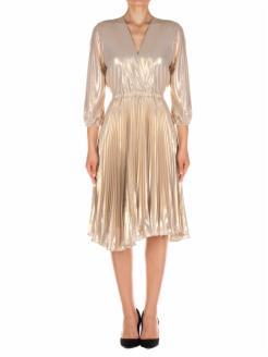 Vestido  en georgette laminado y plisado