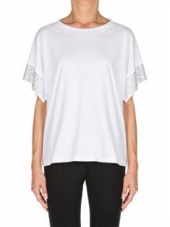 strass sleeve T-shirt