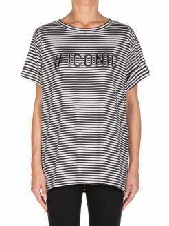 camiseta listada con letras en strass