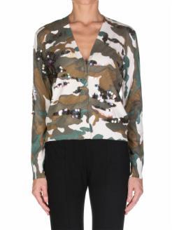 Viscose knit camouflage cardigan