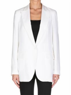 Blazer blanco, estilo oversize con cuello maxi