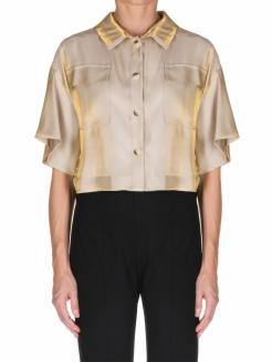 Camisa estilo oversize beig y dorada
