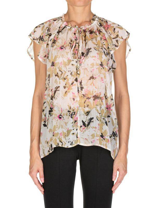 Oversized blouse in printed silk and lace