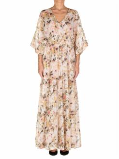 long dress in printed silk. V-neckline