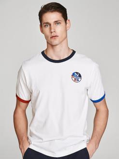 Camiseta algodón cuello y mangas a contraste