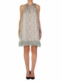 Vestido corto estampado en crepón de seda
