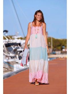 Vestido largo tricolor en voile de viscosa