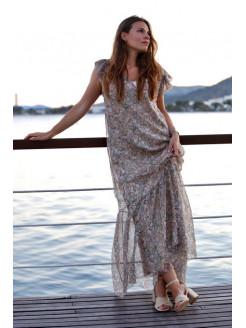 Vestido largo en crepón de seda