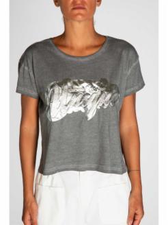 T- shirt estampada en plata