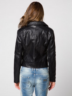 Textured leather biker jacket with lateral zip with ribbed inserts.