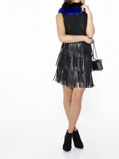 LACE DRESS WITH FRINGED SKIRT