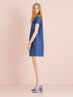 BOXY DRESS IN DENIM AND LINEN BLEND